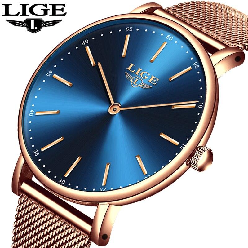 Relogio feminino Frauen Uhren LIGE Top Marke Luxus Damen Casual Mode Uhr Damen Wasserdichte Quarzuhr zegarek damski