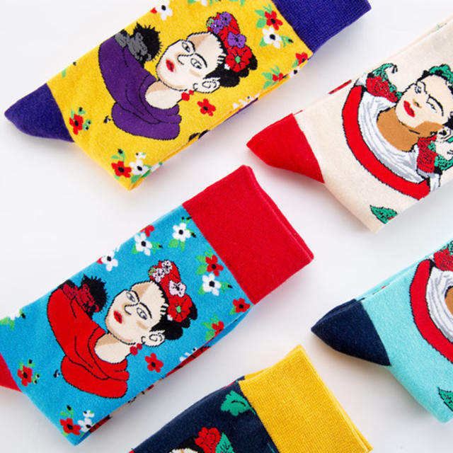 PEONFLY New Printed Woman Big Red Flower Cartoon Pattern happy men Socks Personality Fashion Colorful Cotton Socks Autumn Winter