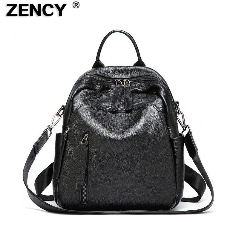 ZENCY Fashion Soft 100% Real Genuine Leather Women Backpacks Ladies Girls Cow Skin School Casual Shopping Shoulder Bag Female nucelle brand new design women s fashion casual drawstring genuine cow leather girls ladies backpacks shoulders travel bag