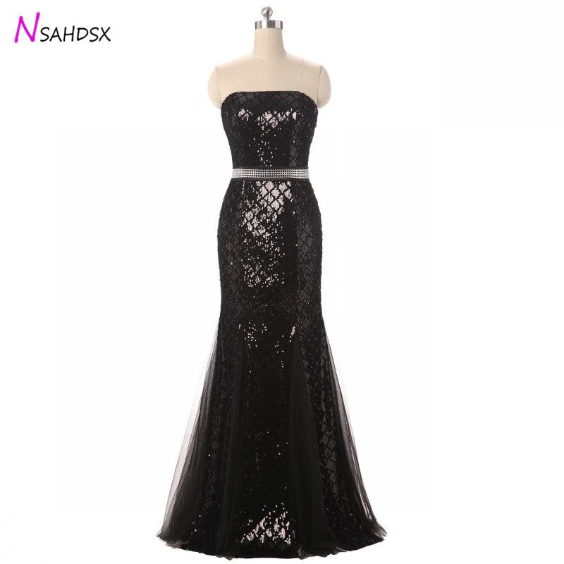2018 Tailor Made Plus Size Fashion Black Sequins Lace Evening Party Dresses Hosting Banquet Birthday Slim New Aummer Vestidos