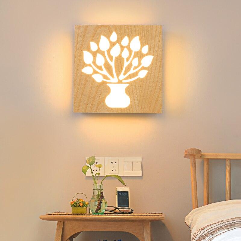 Твердые деревянные творческий дерева, настенный светильник украшения проходу детей арендатора зал СВЕТОДИОДНЫЙ характер спальня ночники ...