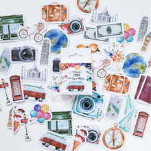 45 pcs/box A person's travel Kawaii paper stickers Diary decoration diy scrapbooking label seal Hand account sticker stationery 46 pcs box cute mini vintage travel sticker scrapbooking diy paper pack seal label diary bullet journal kawaii stationery 1t807
