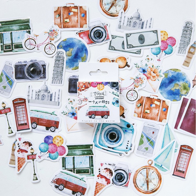 Traveling Themed Paper Stickers 45 pcs Set