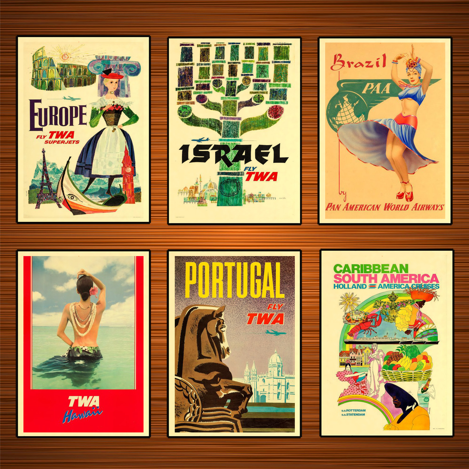 VINTAGE PORTUGAL TWA TRAVEL A4 POSTER PRINT