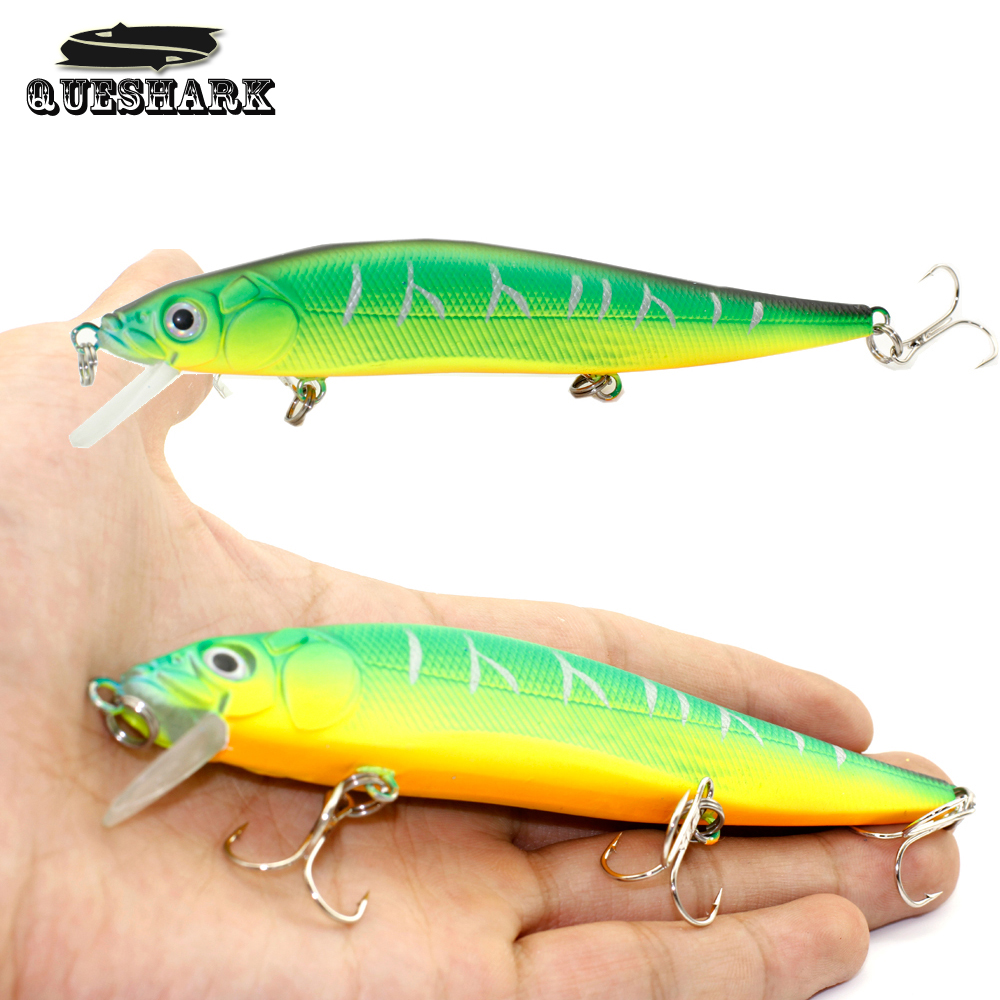 Queshark 1PCS Laser Minnow Fishing Lure Sea Bass Bait 14CM 22G Pesca Hooks Fish Wobbler Tackle Artificial Japan Hard Bait 1pcs fishing lure bait minnow with treble hook isca artificial bass fishing tackle sea japan fishing lure 3d eyes
