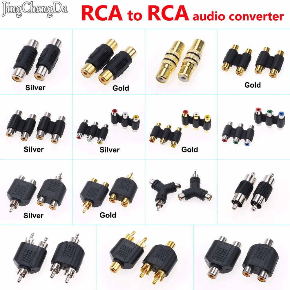 JCD New RCA Female To RCA Female Audio Video Cable Jack Plug Adapter Connector 3 RCA AV Audio Video Female To Female