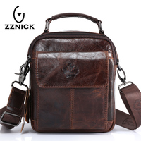 ZZNICK Men Bag Messenger Genuine Leather Vintage Crossbody Bags Top Handle Small Flap Casual Shoulder Men