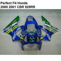 100% подходит инъекции Обтекатели для Honda CBR900RR 929 2000 2001 синий комплект обтекателей CBR 929RR 00 01 TI01