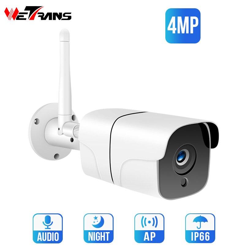 Wetrans Câmera IP Wifi 4MP H.265 À Prova D' Água HD Câmera de Segurança Ao Ar Livre Bala de Vigilância de Visão Noturna Sem Fio HD CCTV Cam