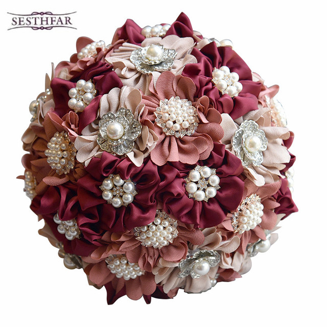 3pc Set Satin Wedding Bouquet Burgundy Photograph Bridal Artificial Flowers With Brooches Pearls 2018
