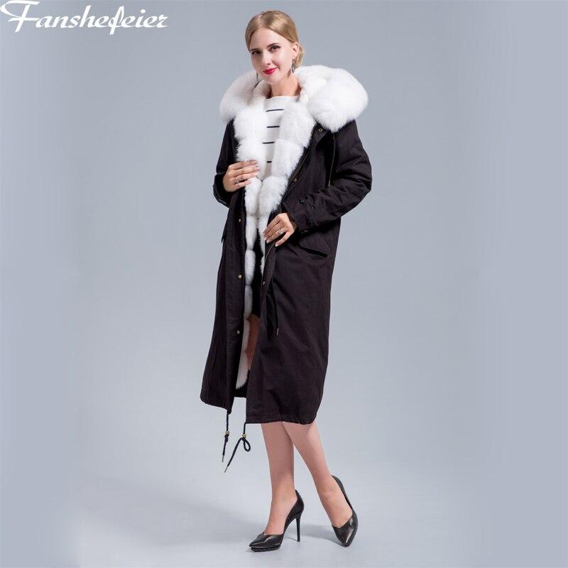 Fanshefeier veste d'hiver femmes Rex fourrure de lapin doublure Parka véritable manteau de fourrure vraie nature renard col de fourrure à capuche Parkas manteau épais