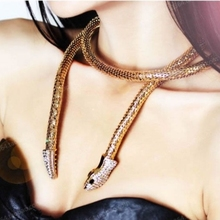 Fashion Punk Crystal Gold Silver Snake Belt For Women Collier Femme Bijoux Magnet Necklaces Choker Jewelry Accessory