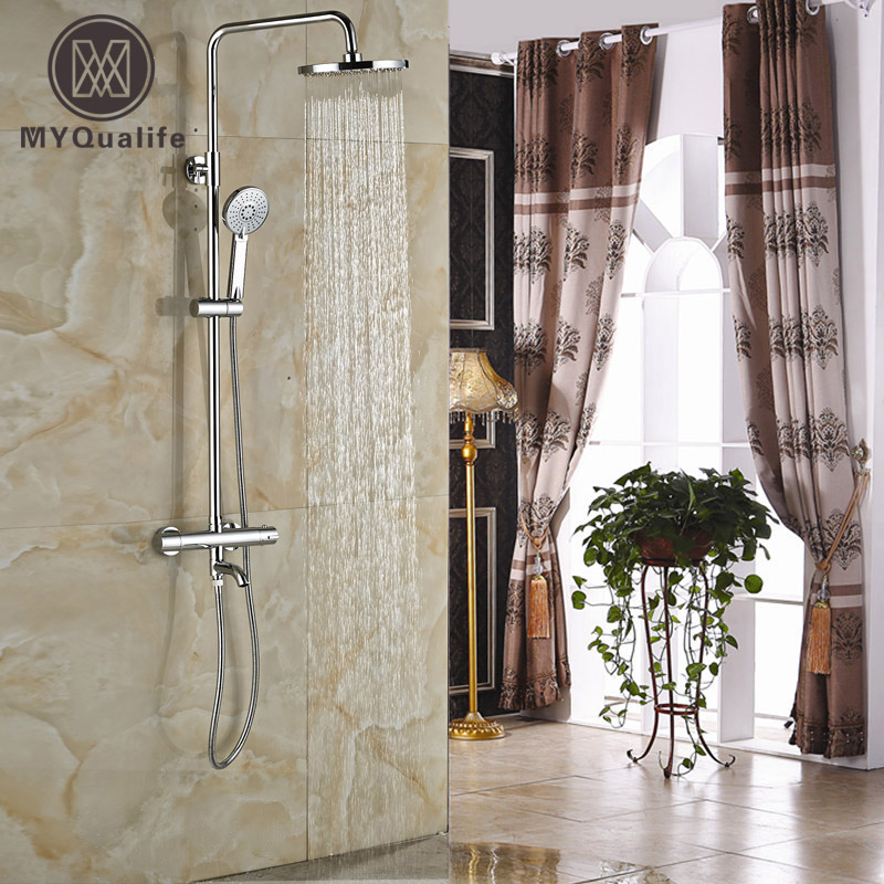 Luxury In-wall Shower Faucet with Thermostatic Mixer Valve Chrome 8 Rainfall Bath Shower Mixer Taps wall mounted two handle auto thermostatic control shower mixer thermostatic faucet shower taps chrome finish