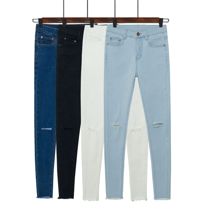 Popular High Waisted Jeans Skinny Knee Ripped-Buy Cheap High ...
