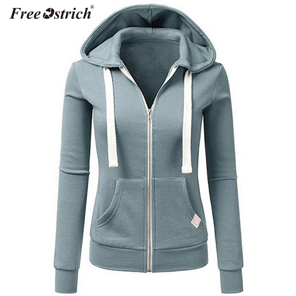 Autumn jacket women solid zipper pockets hooded cazadora mujer jaqueta-feminina chaquetas mujer women overcoat n30