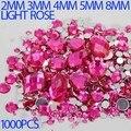 Tamaños de la mezcla de rosa Redondo Color strass Sueltos No Hotfix Rhinestone Flatback de Acrílico Nail Art Piedras de Cristal Para La Boda Decoraciones