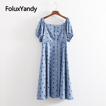 Polka Dot Slash Neck Dress New 2019 Casual Plus Size Summer Style Mid-Calf A-line Short Sleeve Dress Blue Vestidos KKFY3533 plus size brief slash pockets blue dress