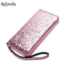 ФОТО rdywbu multifunction sequined shiny clutch bag pu women's long wallet credit card phone bag zipper carteira feminina 3color h150