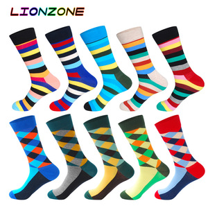 Image 3 - 10 Pairs/Lot Men Socks Combed Cotton Brand  Famous Oil Painting Striped Totem Ling Plaid Funny Happy Dress Male Sock + Free Gift