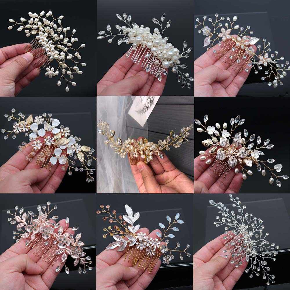 Bridal Hair Accessories Crystal Peals Hair Combs Wedding Hair Clips Accessories Jewelry Handmade Women Hair Ornaments Headpieces