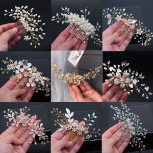 Combs Headpieces Jewelry Hair-Clips-Accessories Crystal Peals Handmade Wedding Bridal