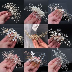 Gelin saç aksesuarları Kristal Inciler Saç Tarak Düğün Saç Klipleri Aksesuarları Takı El Yapımı Kadın Saç Süsler Headpieces