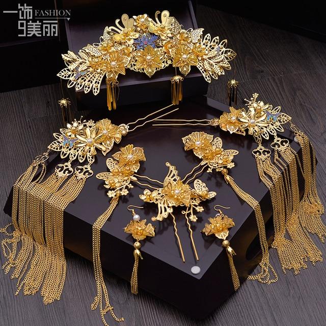 Nieuwe Chinese Bruid Hoofdtooi Klassieke Phoenix Haar Kam Crown Stap Rocking Pak Bruiloft Haar Accessoires Groothandel