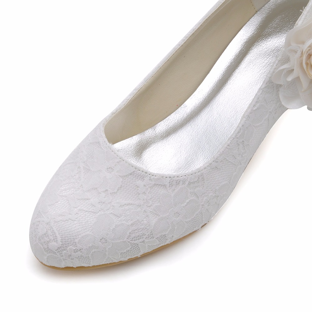 EP2130 Schuhe Frau Elfenbein Weiß Brautjungfer Cloced Kappe ...