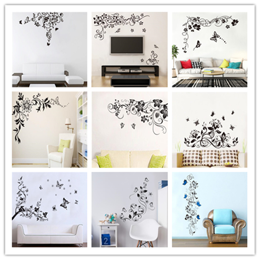 Bedroom Art Supplies: Aliexpress.com : Buy %flower Vines And Butterfly Vinyl Pvc