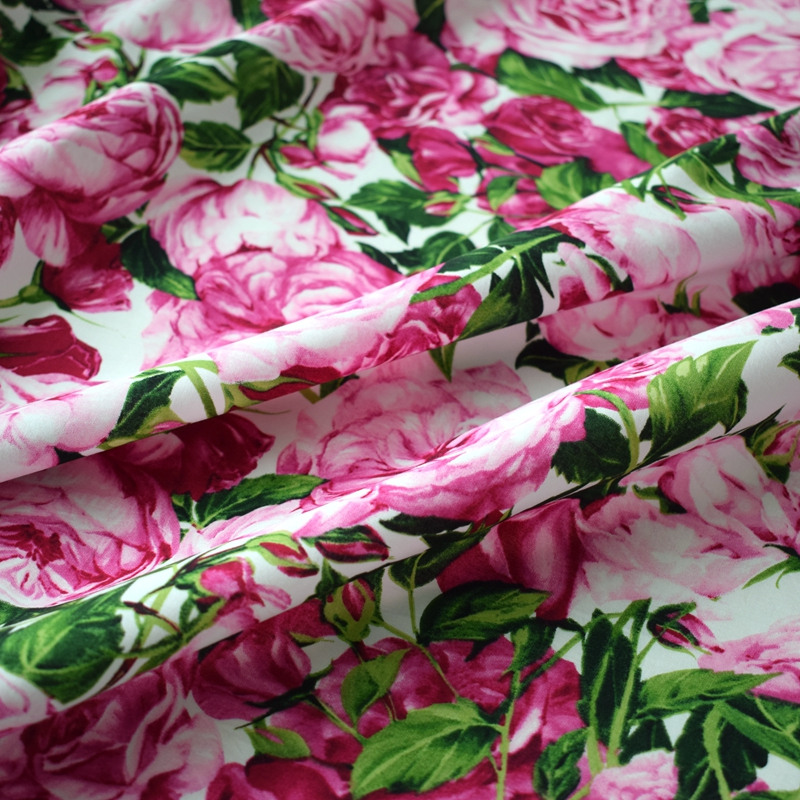 Reactive dyeing pink rose kids cotton fabric for dress tissus tecido telas shabby chic tissu africain bazin riche getzner tela