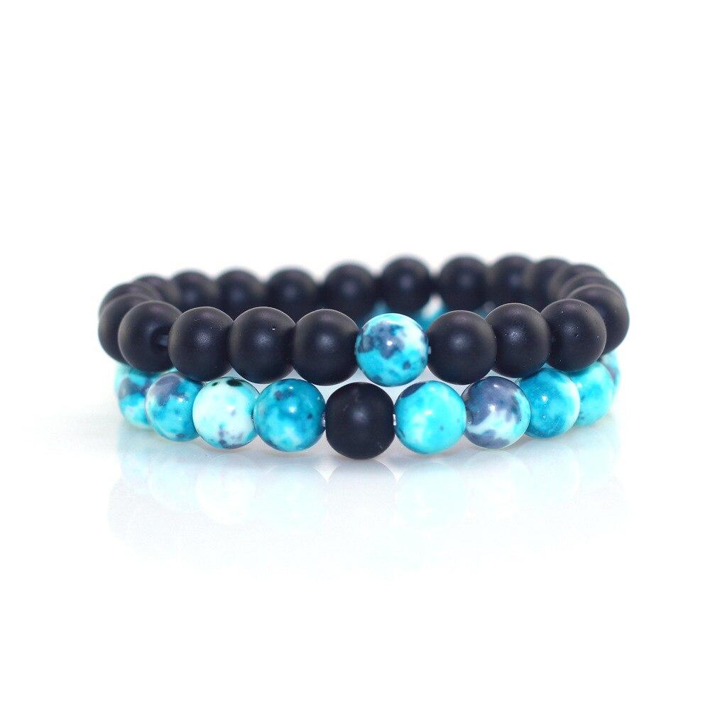 2pcs/set Natural Blue Ink Wash X Frosted Stone Men's Bracelet Elegant Masculine Boys Birthday Christmas Jewelry Gift