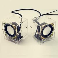2pcs/pair Diy Electronic 3W Speaker Making Kit with Transparent Shell Computer Audio Electronics Diy Kit