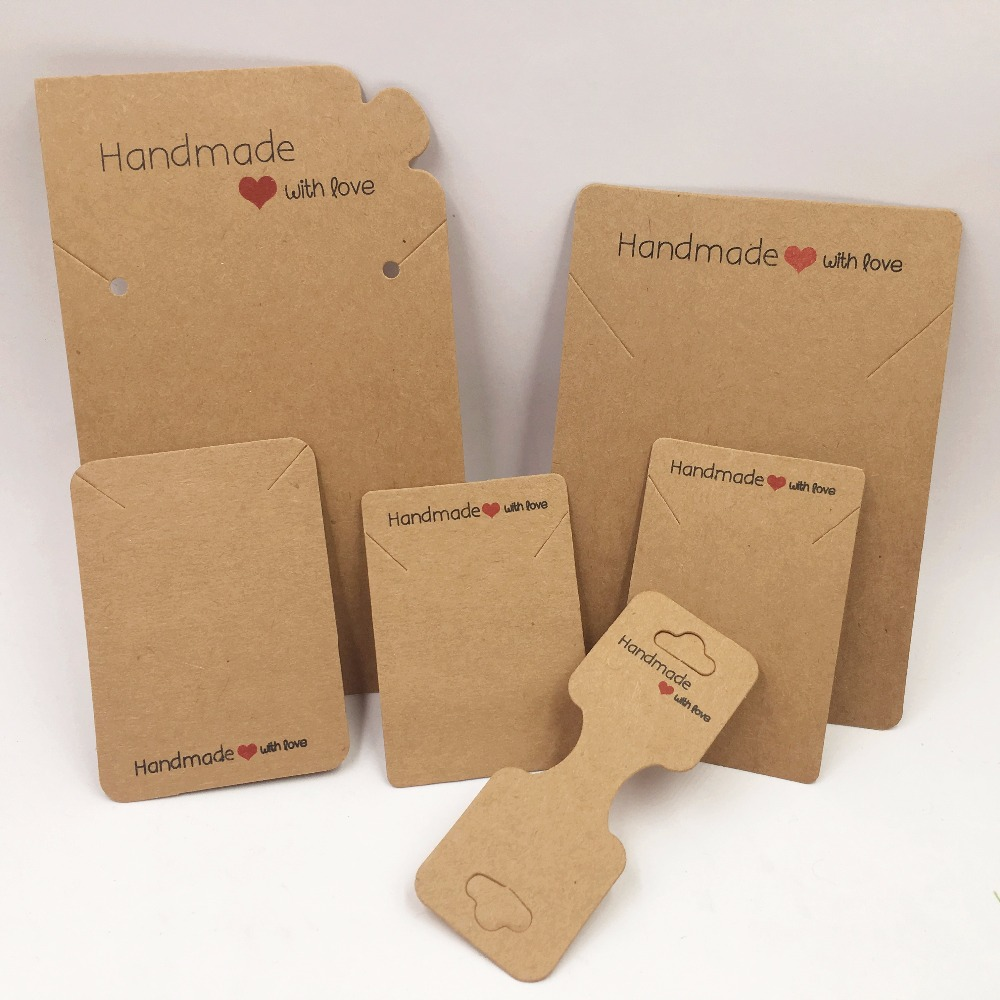 100pcs Kraft Handmade With Love Jewelry Cards,Necklace/Earring/Hairpin/Pendant /Love Jewelry Displays Cards