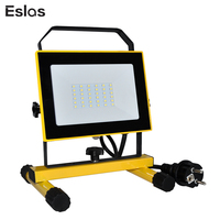 Eslas LED Outdoor Work Light Floodlight AC 110V 240V Portable Lamp LED Work Light IP65 Waterproof for Garage Lantern Spotlight