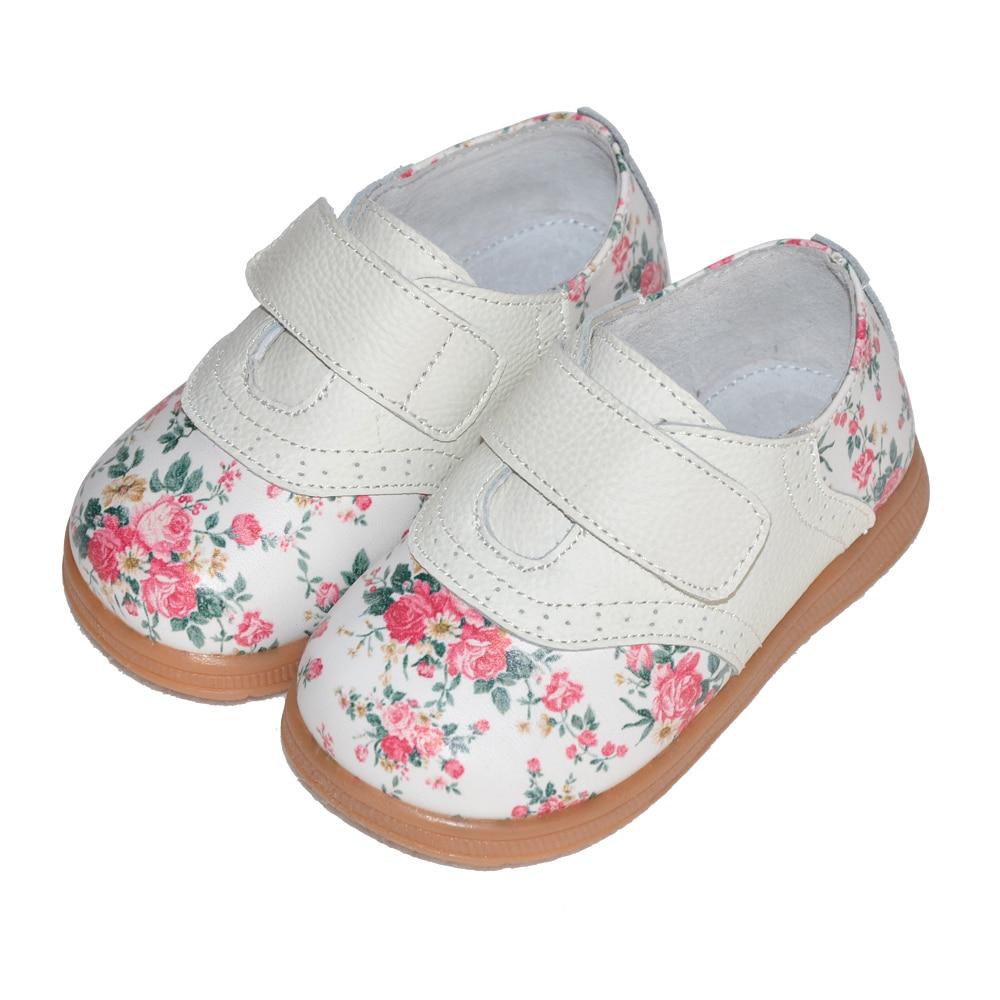 2017 nowe dziewczyny buty prawdziwej skóry róża druku wiosna - Obuwie dziecięce - Zdjęcie 2