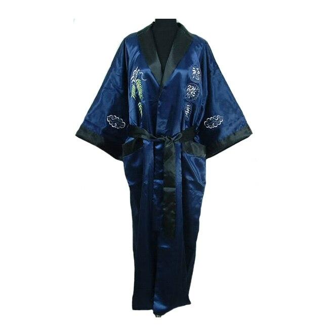 Reversible Navy Blue Black Male Silk Rayon Sleepwear Embroidery Dragon Chinese Style Men Robe Kimono Gown One Size MR096