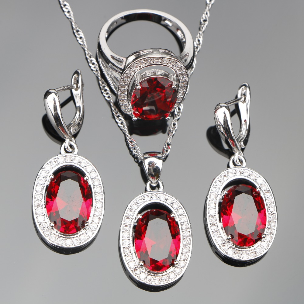 Red Zircon Women 925 Silver Costume Jewelry Sets Decorating Earrings With Stones Rings Pendant&Necklace Set Jewelery Gift Box