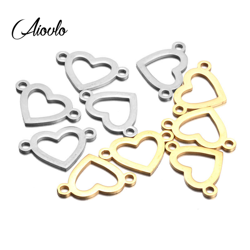 10pcs/lot 13*20mm Stainless Steel Gold Heart Charm Connector For Bracelet Necklace Hollow Pendants Diy Jewelry Making Hole 2.5mm