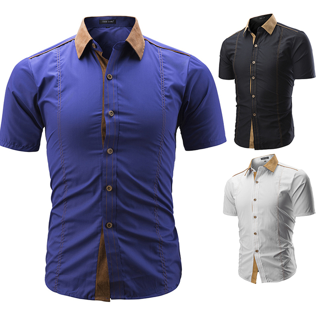 2c6f7ffbe26 EINAUDI Men Shirt Brand 2018 Male Large Size Short sleeve Shirts Casual Hit  Color Slim Fit