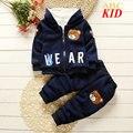 Invierno Fleece chándal ropa para niños set kids Ratón de la Historieta chaquetas de la capa del hoodie + pants del bebé traje caliente KD179