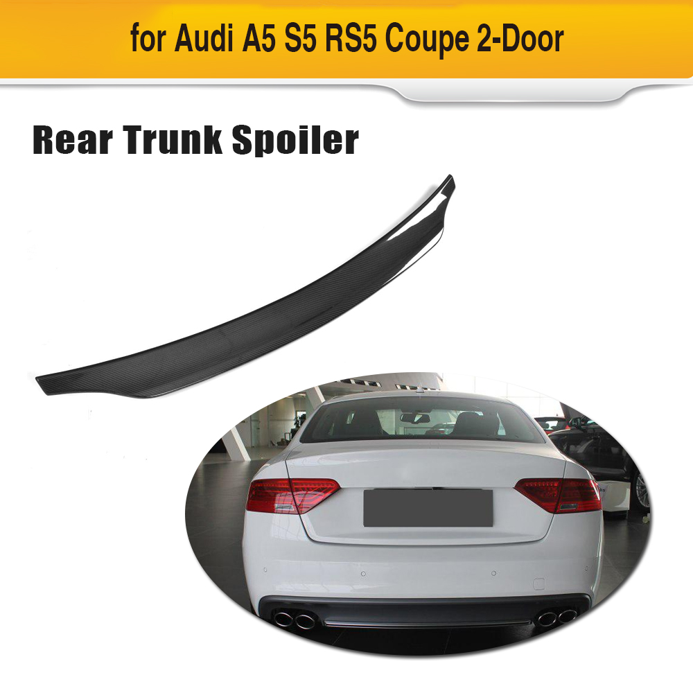 For Audi A5 Sline S5 Coupe 2009 - 2016 Carbon Fiber Car Rear Trunk Spoiler Boot Lip Wing Lip Not For RS5