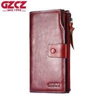 GZCZ Genuine Leather Slim Wallet Coin Purse Women Walet Female zipper Card Holder Long Vallet Clutch Portomonee Red clutch Handy