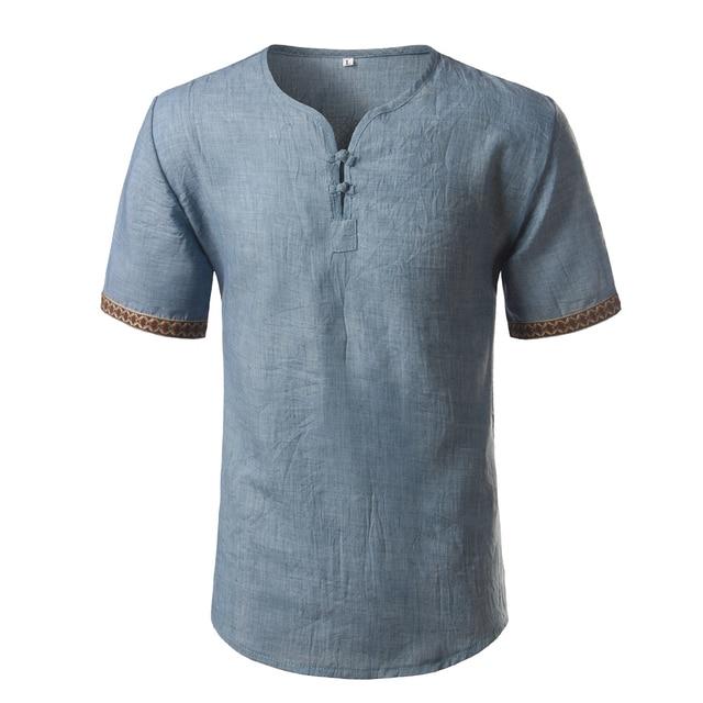 d1203f7d0a318 Cotton Linen Shirt Men 2018 Brand New Floral Print Mens Mens Dress Shirts  Casual Slim Fit Short Sleeve V Neck Chemise Homme 5XL