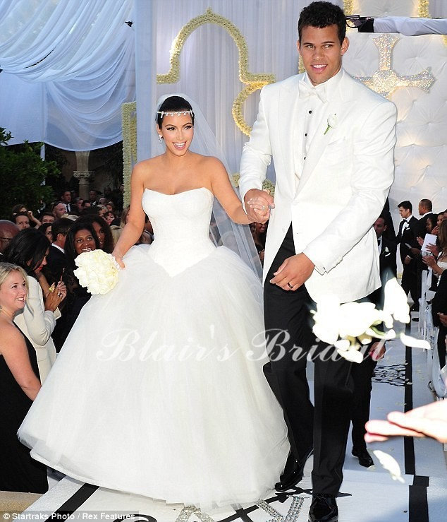 Ball Gown Bridal Sweetheart Neckline High Waist White Tulle Custom Made kim kardashian wedding dress