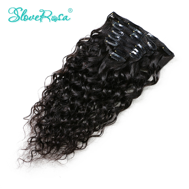 Slove Rosa Brazilian Remy Natural Wave Hair African American Clip In Human Hair Extensions No Split 120g/Set Free Shipping