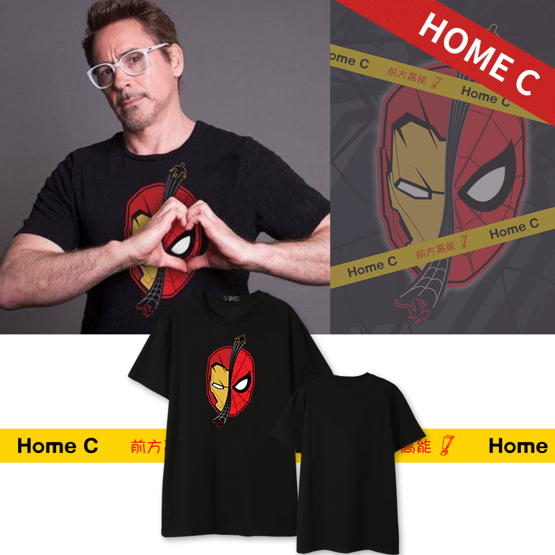 [Stock]Movie Spiderman Homecoming Iron Man T-shirt cosplay tshirt Summer Cotton Top Tee Unisex Plus size Free shipping