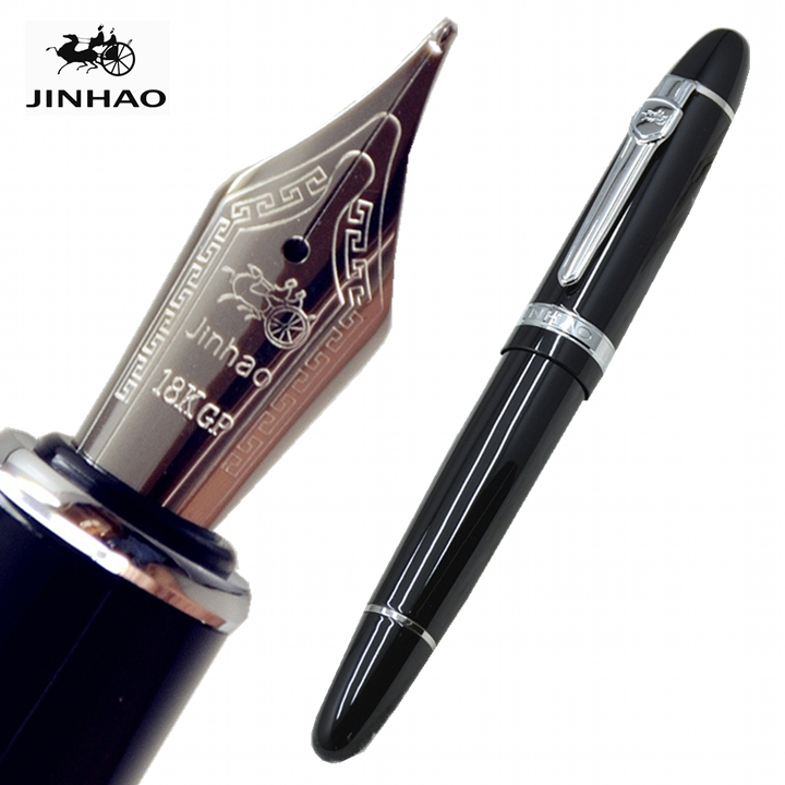 JINHAO 159 black metal Fountain pen with M Nib Stationery office school Supplies brand Writing Business gift ink pens A9 italic nib art fountain pen arabic calligraphy black pen line width 1 1mm to 3 0mm
