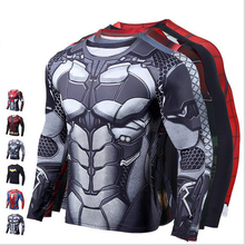 Men Gym Long Sleeve Compression Shirt 3D Anime Superhero Spiderman Batman Iron man T Tights Fitness Tops & Tees