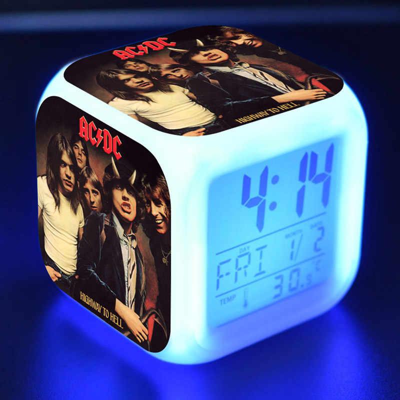 Ac/dc música figura juguetes despertador pvc colorido toque luz ac dc figma mesa relógio brinquedos festa fornecedor