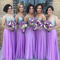 Shinning Long Light Purple Lavender Bridesmaid Dresses Beaded Tulle Sequin Bridesmaid Dress Sweetheart Bridesmaid Gowns B18